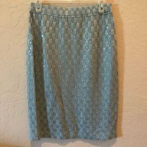 St John Evening Icy Blue Embellished Pencil Skirt